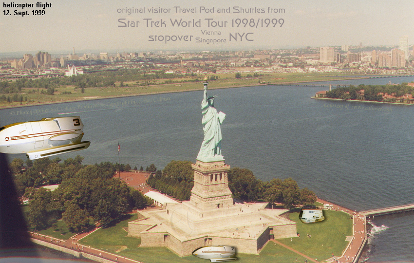 Star Trek World Tour 1998/1999 stopover NYC 1999 September helicopter flight Statue of Liberty Island slide 7-09A