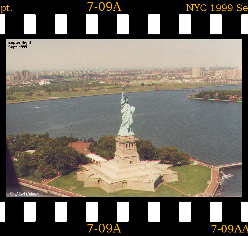 Statue of Liberty NYC 1999 September slide 7-09A seen during helicopter flight