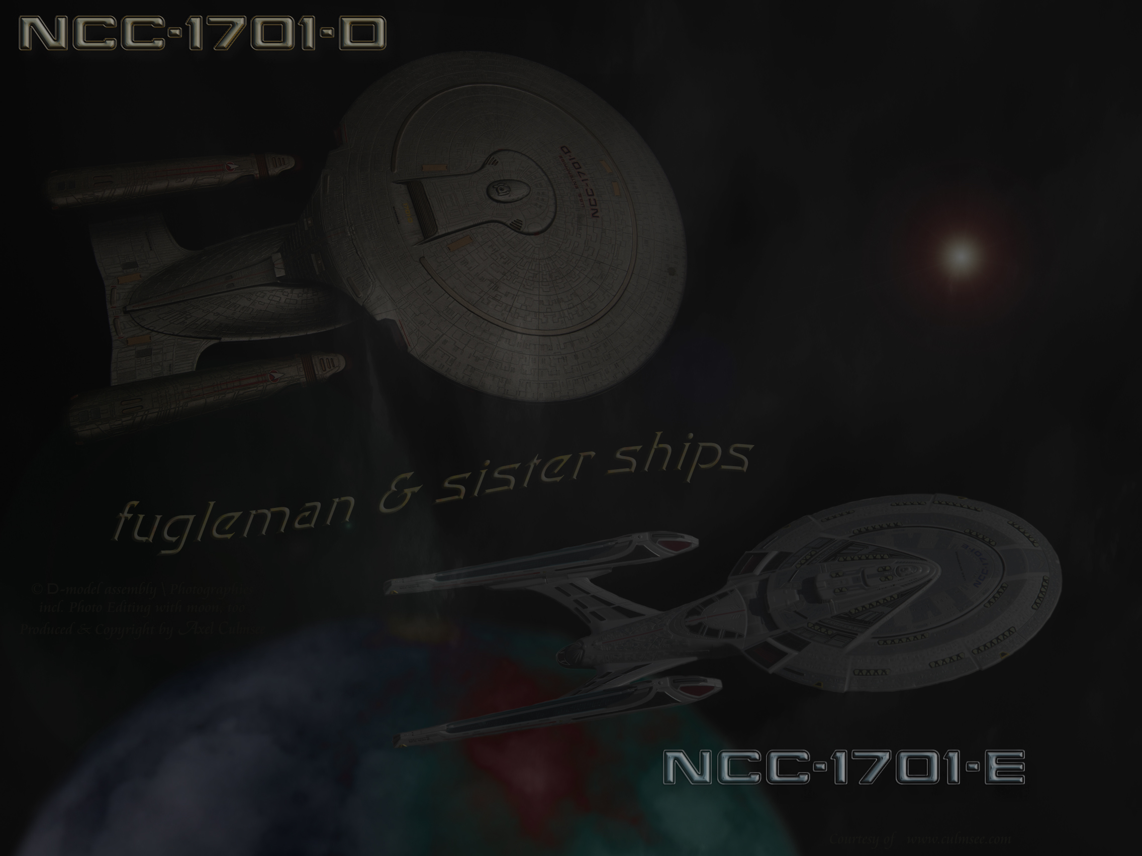 NCC-1701-D with -E across multi atmospheric moon under clouds