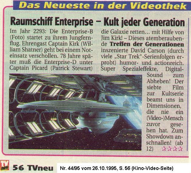 Star Trek - Treffen der Generationen Rezension TVneu 44 in 1995