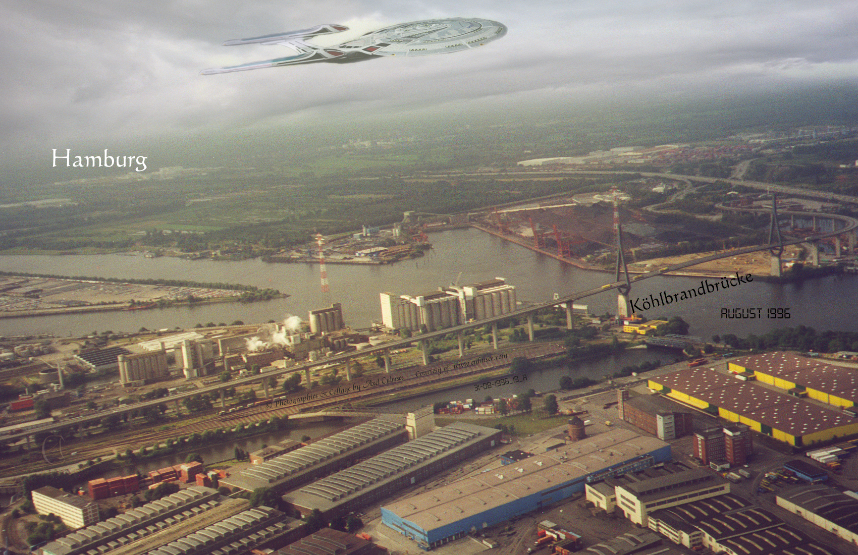 Hamburg sightseeing flight across Koehlbrand bridge with Enterprise-E