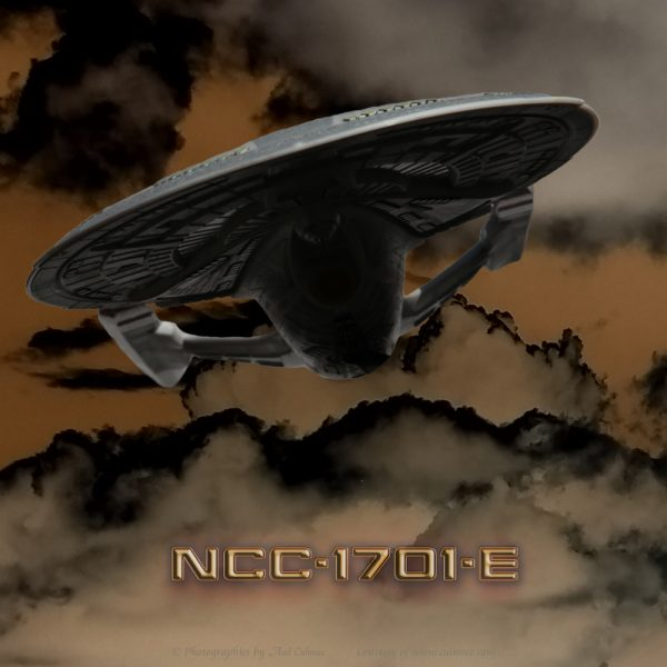NCC-1701-E approaching thunder clouds