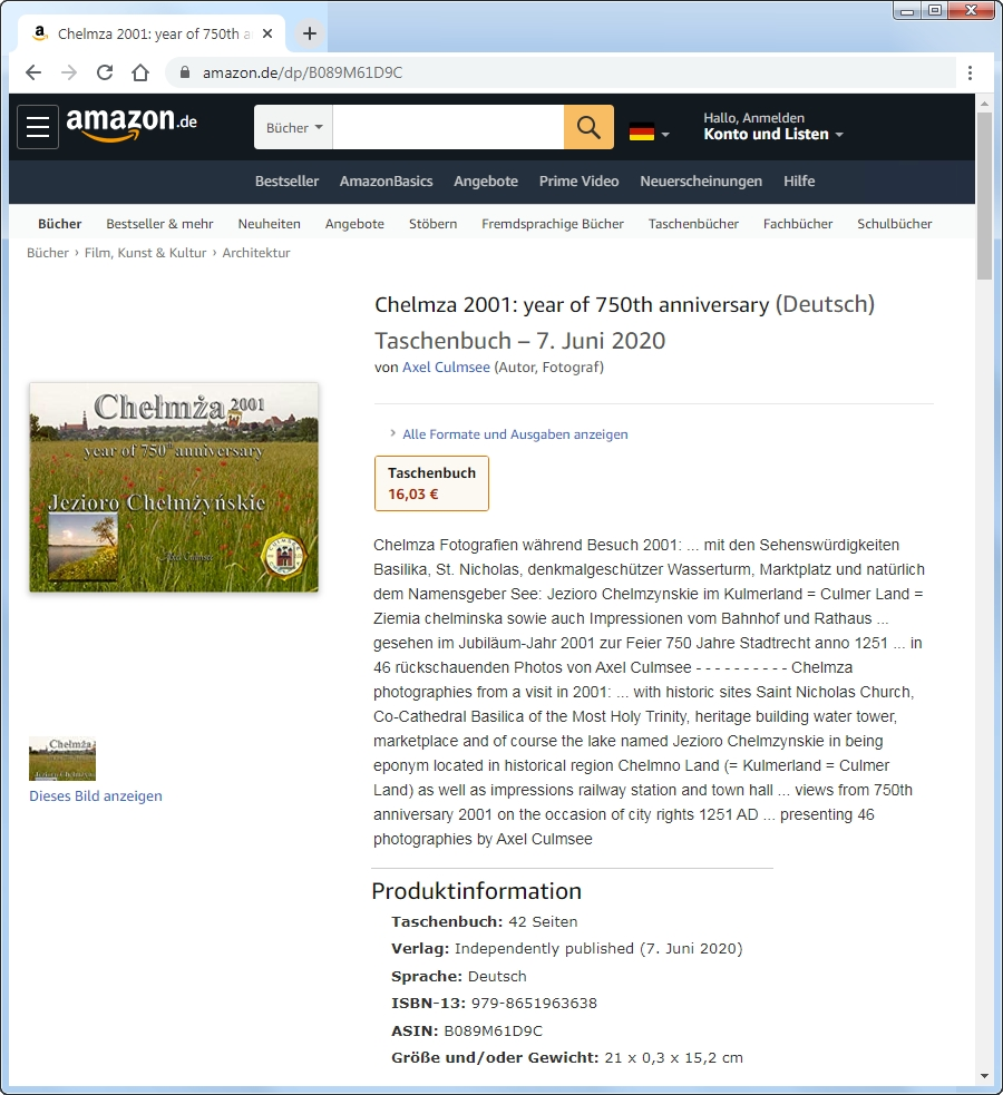 Chelmza 2001 photographies booklet, Amazon paperback by Axel Culmsee