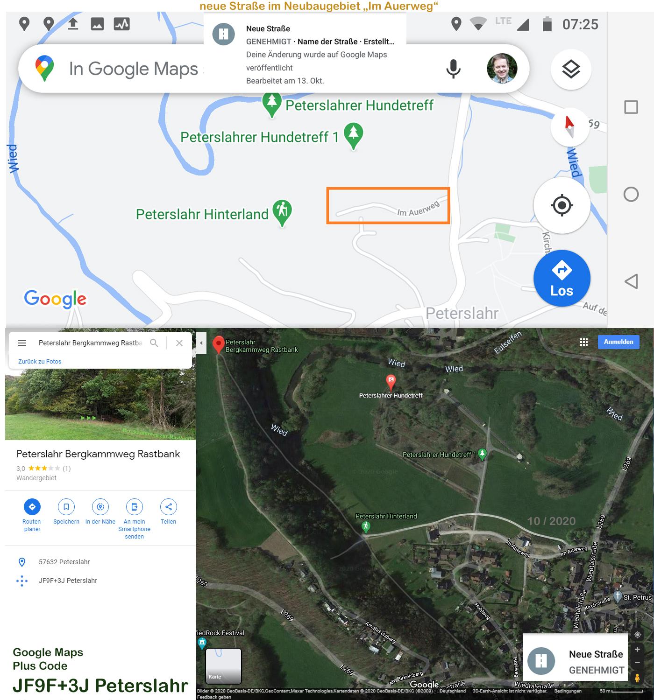 Google Maps Peterslahr Bergkammweg Rastbank und neue Straße Im Auerweg