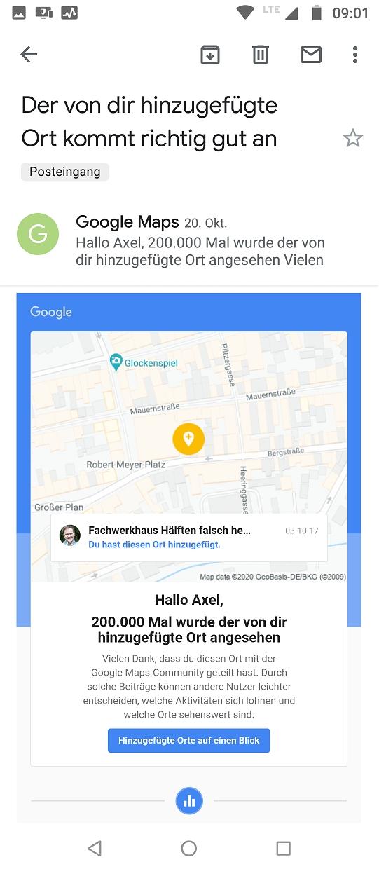 Celle, Fachwerkhaus Hälften falsch herum 200k views Google Maps