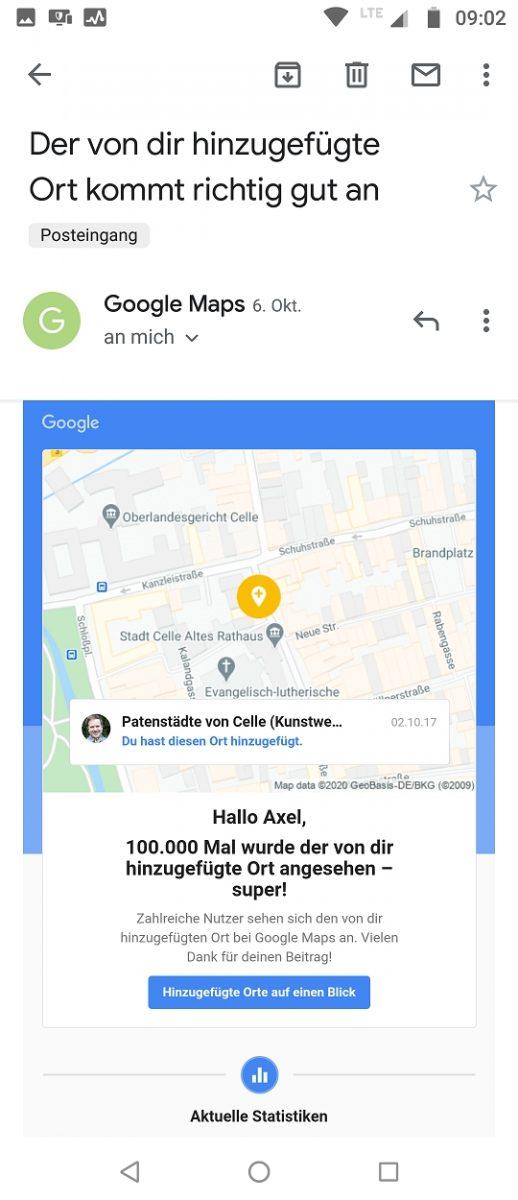 Celle, Patenstädte 100k views Google Maps