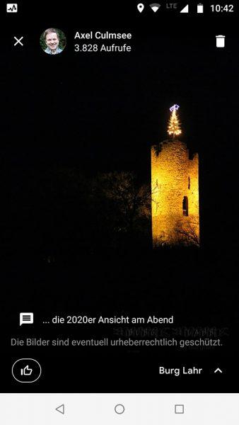 Burg Lahr, Christmas scene 2020 Google Maps, views January 1st 2021