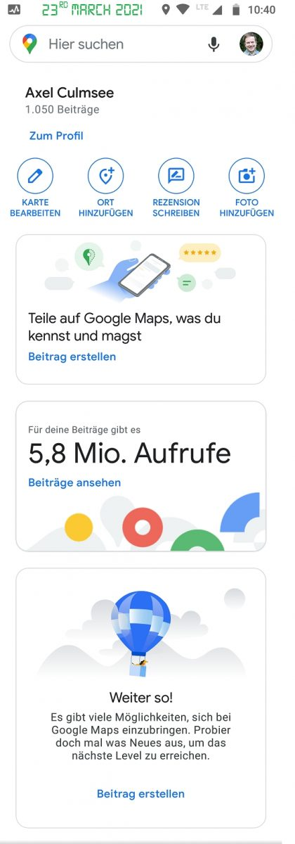 Google Maps Local Guide 5.8M views March 2021