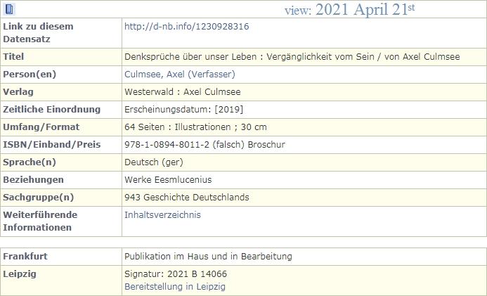 DNB.de Denksprueche von Axel Culmsee - Katalog-Auszug