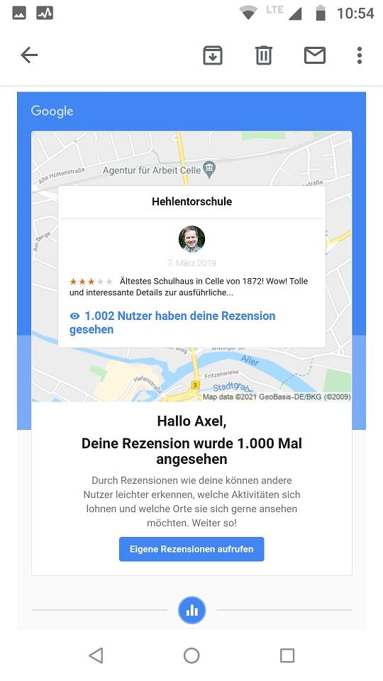 1k views Rezension Hehlentorschule Celle auf Google Maps