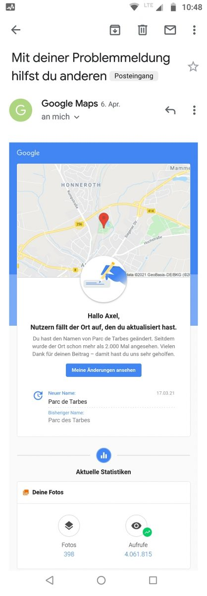 2k views seit Berichtigung Name auf Google Maps