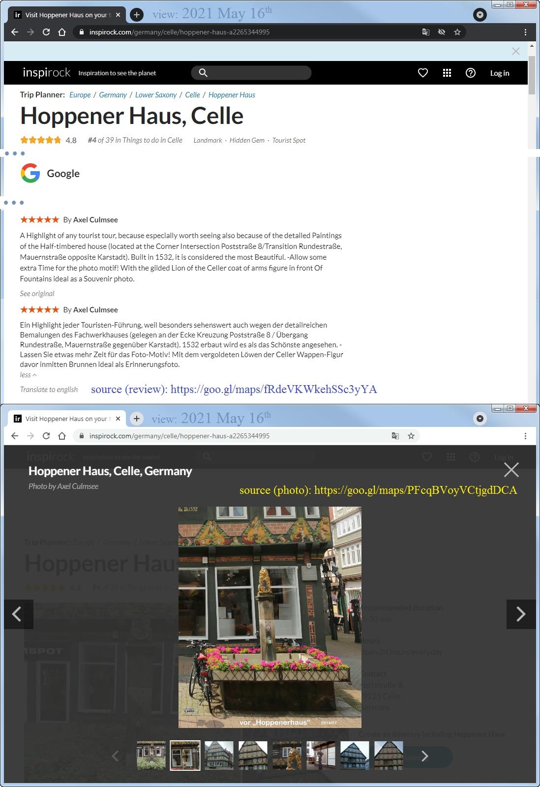 Celle, Hoppener Haus - Rezension mit Foto bei Google Maps - transferiert auf Reise-Website