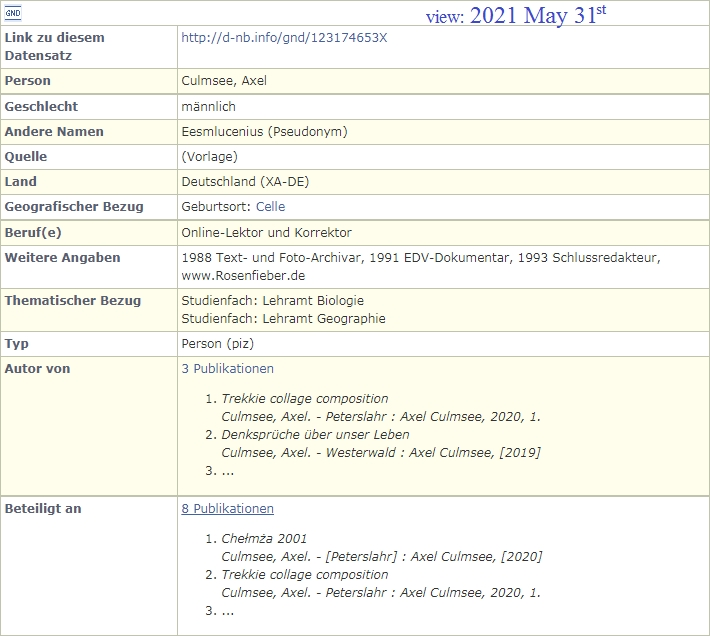 DNB.de Axel Culmsee, Fotograf - Katalog-Auszug, GND Bio-Data