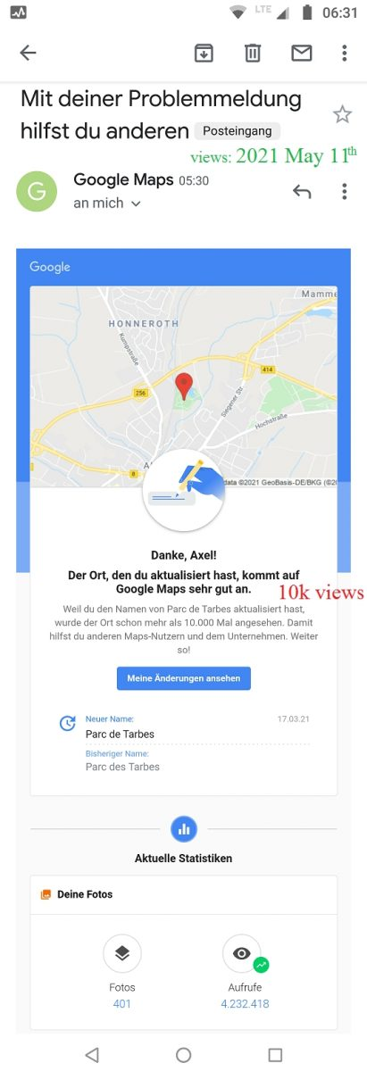 Local Guide Google Maps - Parc de Tarbes Altenkirchen 10k views in 8 weeks 2021-05-10