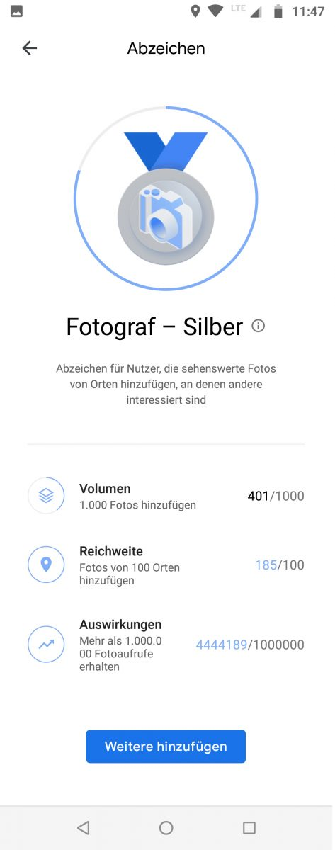 Local Guide Google Maps - Fotograf Silber, badge new look June 2021 - formerly Expert Photographer