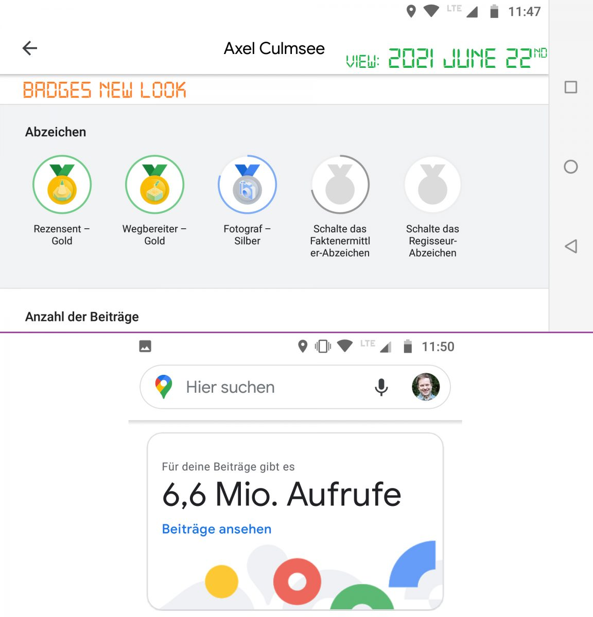 Local Guide Google Maps - badges new look June 2021 with 6,6 M views