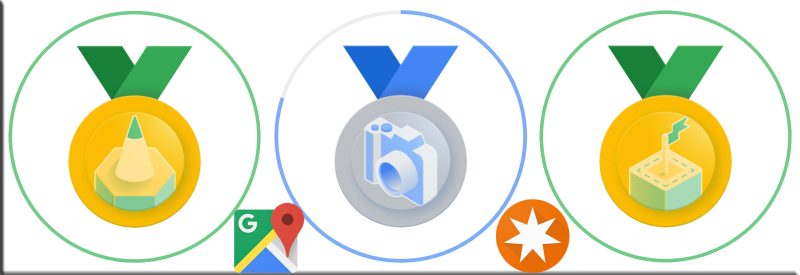 Local Guide Google Maps - badges new look June 2021 - Rezensent Gold, Fotograf Silber, Wegbereiter Gold