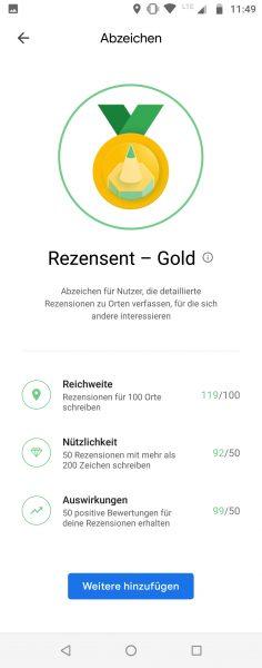 Local Guide Google Maps - Rezensent Gold, badge new look June 2021 - formerly Master Reviewer