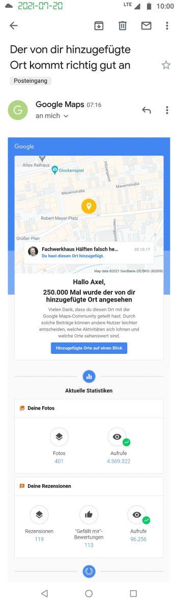 Celle, Fachwerkhaus Hälften falsch herum 250k views Google Maps