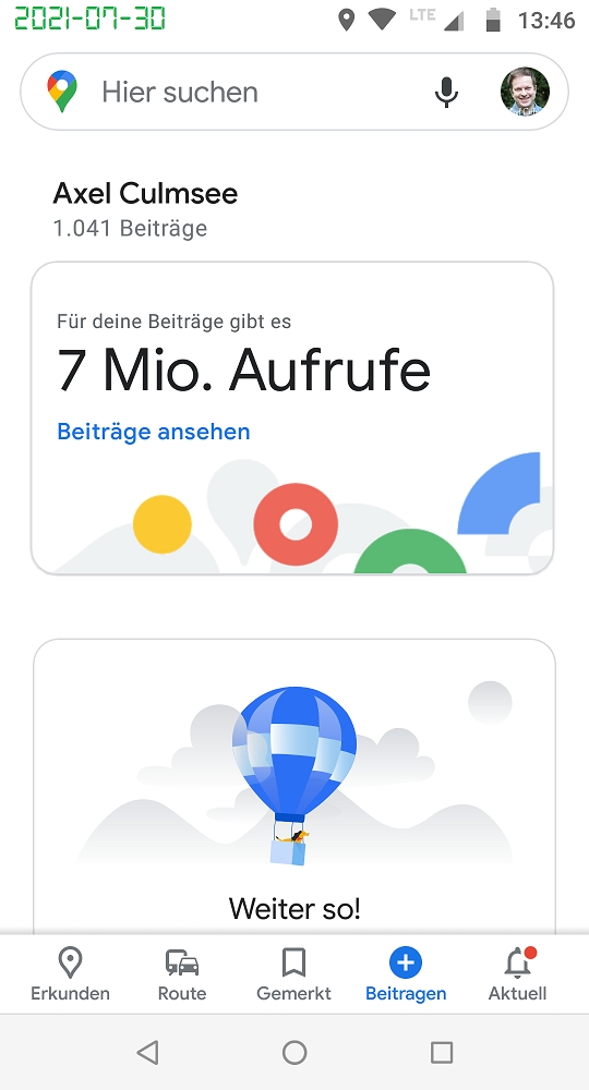 Google Maps Local Guide 7M views July 2021