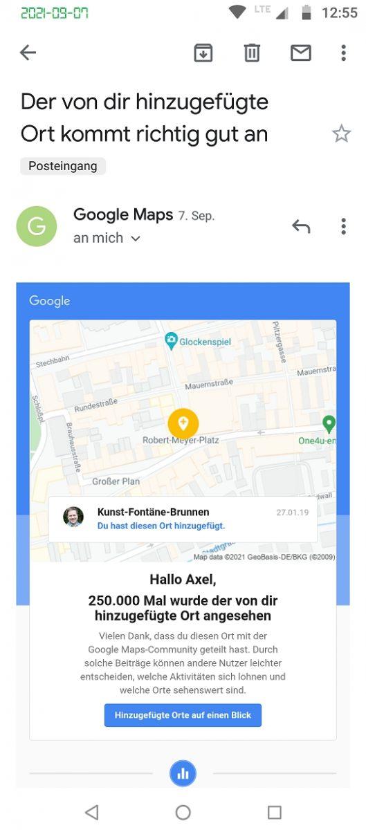 Local Guide Google Maps Celle Kunst-Fontäne-Brunnen 250k views