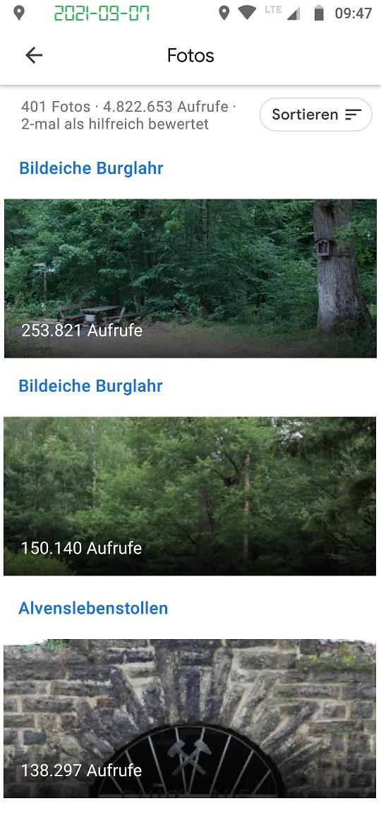 Google Local Guide photo views Bildeiche Burglahr und Alvenslebenstollen