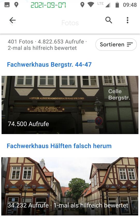 Google Local Guide photo views Celle Fachwerkhaus