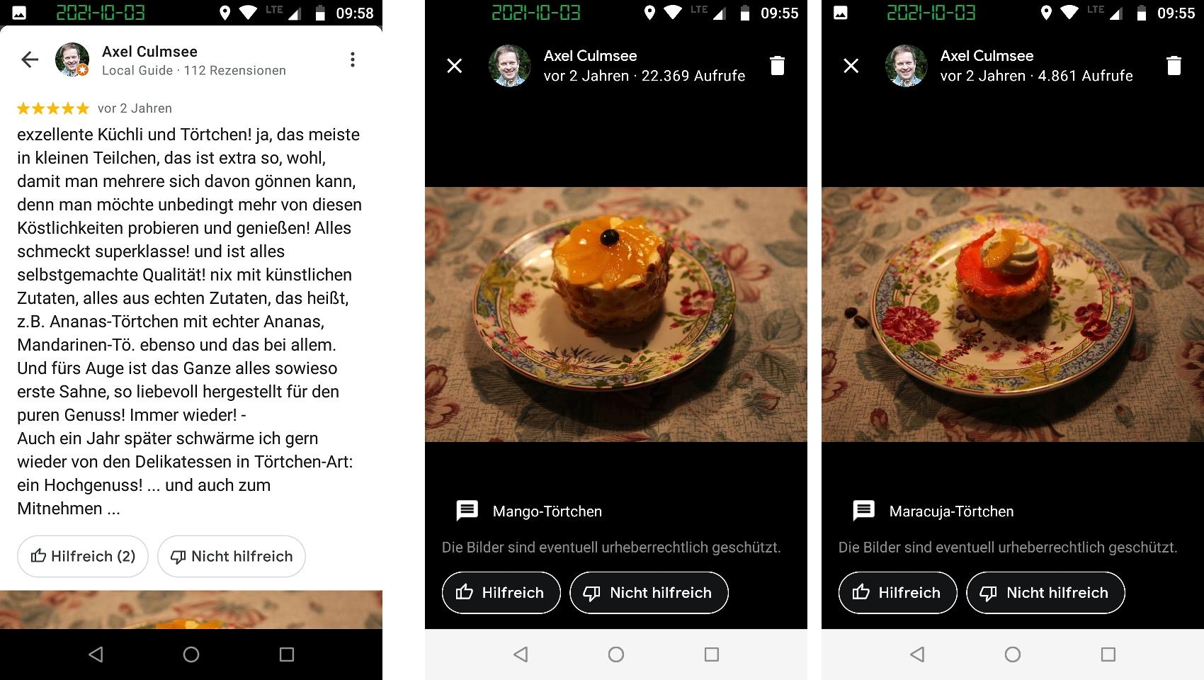 Local Guide 1k views review Cafe Schneider September 2021 mit Fotos Mango- und Maracuja-Toertchen