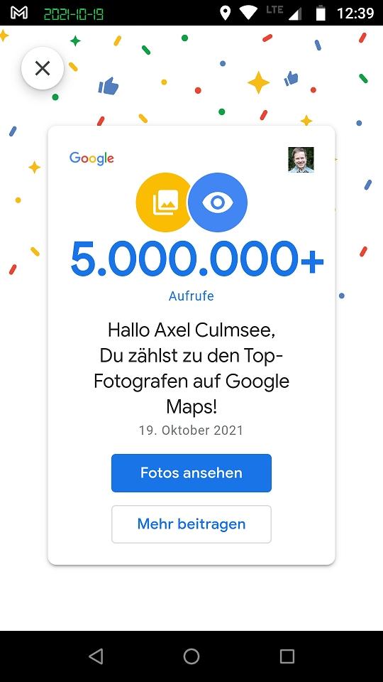 Google Maps Local Guide Fotograf-Experte 5M views certificate
